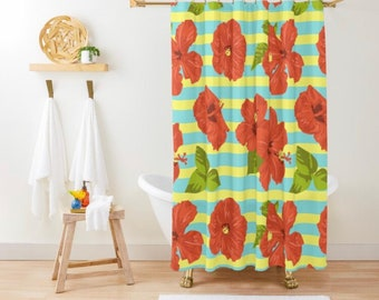 Polyester Shower Curtain, Tropical, Red Hibiscus Blooms on Blue and Yellow Stripes
