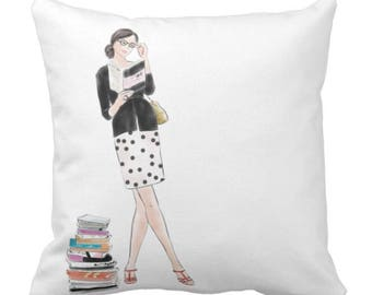 """Throw Pillow """"Just Left the Library"""""""