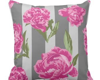 Pink Vintage Peonies on Gray Stripe Decorative Throw Pillow