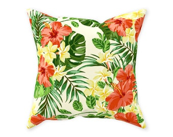 Throw Pillow, Hawaii Floral, Red Hibiscus, Plumeria, Tropical Palm