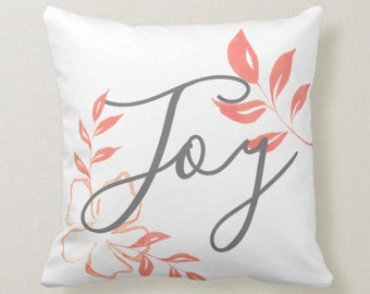 "Peach and White Bloom ""Joy"" Floral Throw Pillow 16 X 16"
