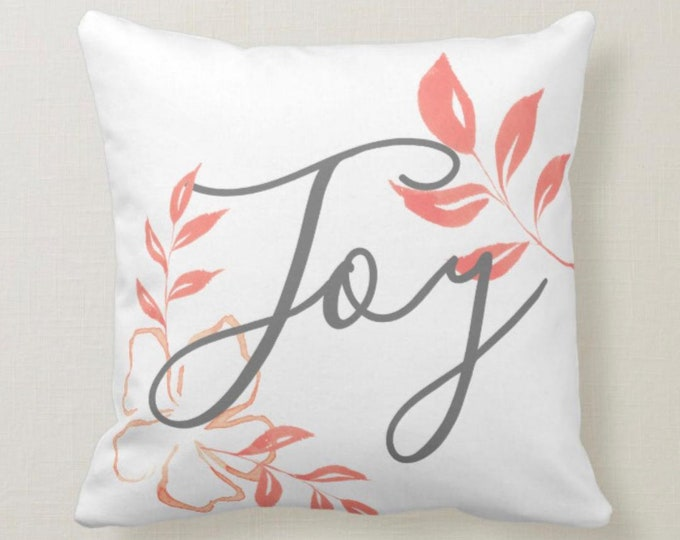 """Peach and White Bloom """"Joy"""" Floral Throw Pillow 16 X 16"""