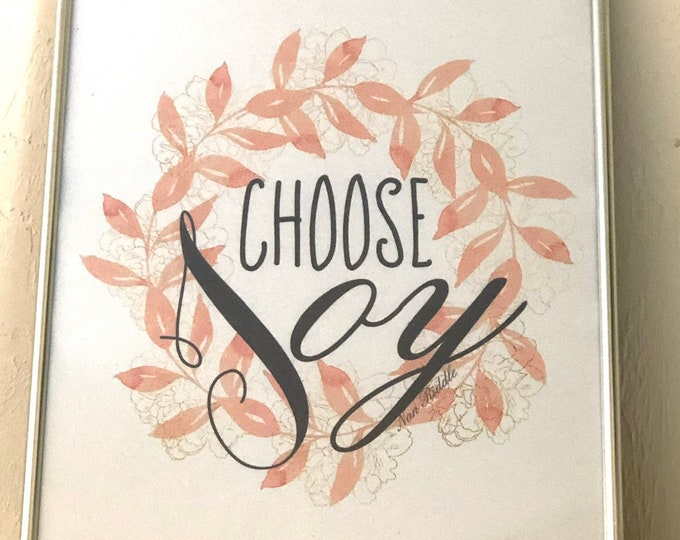 "Typography Print- ""Choose Joy""- Peach Floral Wreath-Modern Farmhouse Style- White Background"