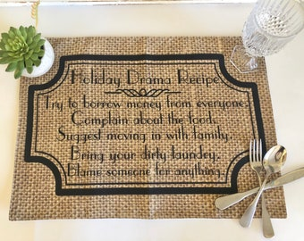 "Funny Thanksgiving Placemat ""Holiday Drama Recipe"" Fall Cloth Placemat, Burlap Design, Fall Table Decor, Holiday Placemat"