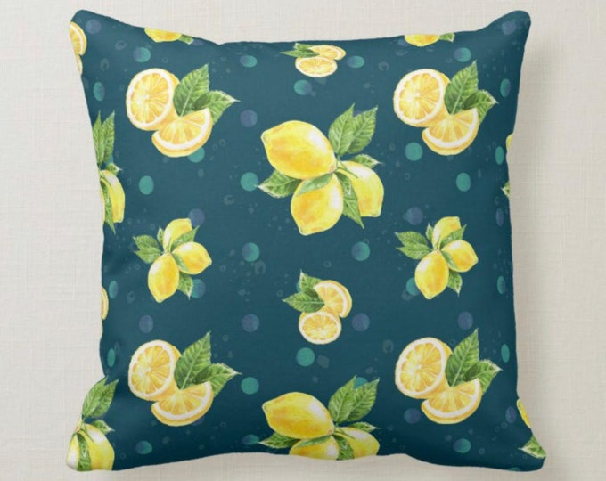 Lemon Pillow, Yellow Lemon, Blue Polka Dot, Navy, Summer, Throw Pillow