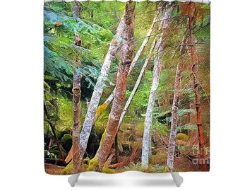Polyester Shower Curtain, Ghosts of the Forest, Wilderness, White Trees, Evergreen, Landscape, Photography Art, Cabin Decor, Rustic Style