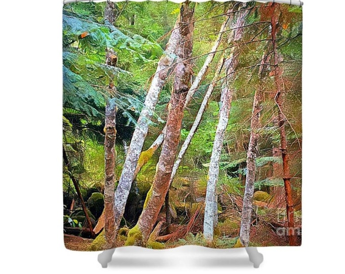 Shower Curtain, Ghosts of the Forest, Wilderness, White Trees, Evergreen, Watercolor Landscape, Photography Art, Cabin Decor, Rustic Style