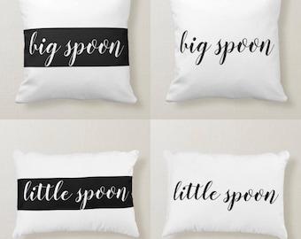 Couple Pillow Set of 2, Big Spoon, Little Spoon, Throw Pillow, Accent Pillow, Black & White, Fun, Romantic Bedding