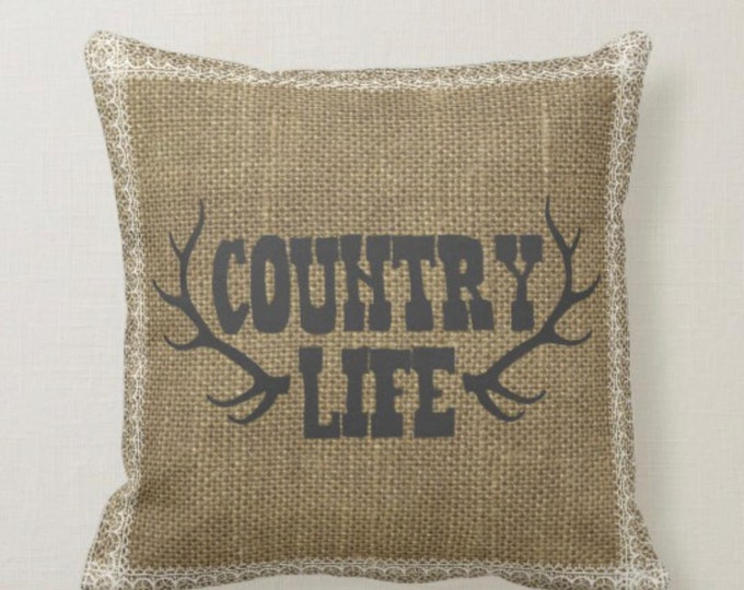 Antler Country Life Burlap & Lace Design Pillow