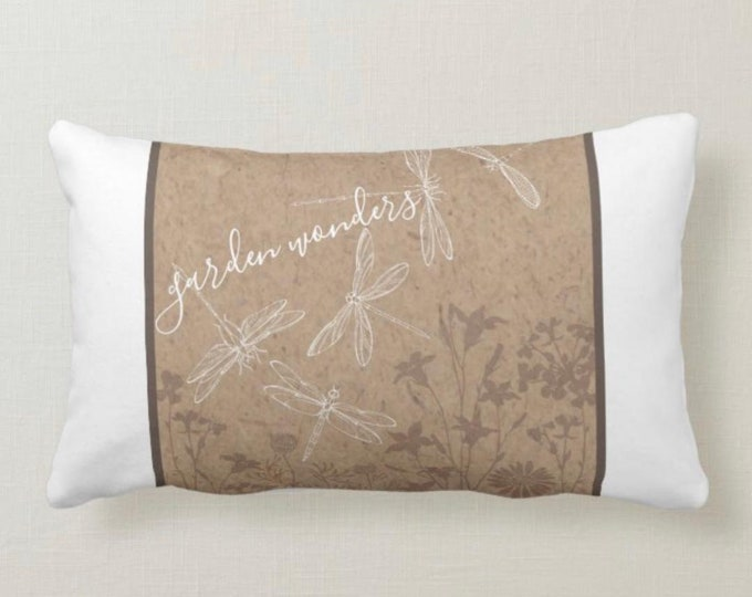 Lumbar Pillow, Dragonfly, Garden Wonders, Shimmering Wings, Tan and White, Pillow