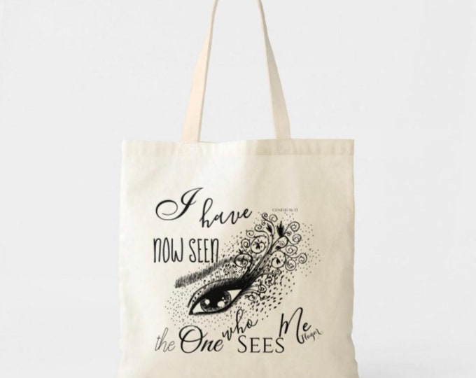 "Canvas Tote Bag ""The One Who Sees"" Faith Tote, The God Who Sees, Bible Verse, Hagar, Christian Tote Bag"