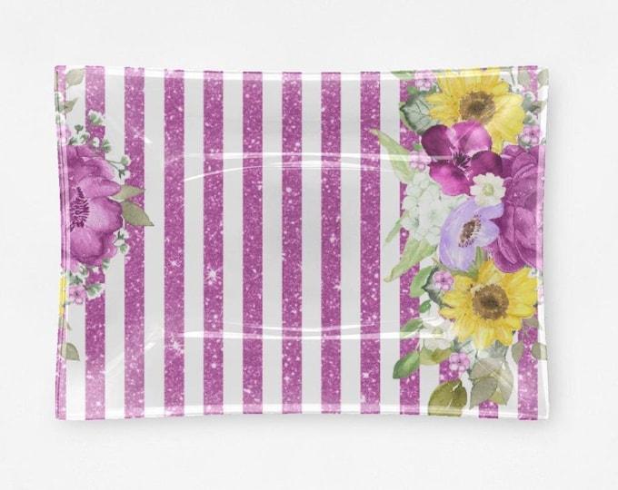 Purple Stripe Floral  Decorative Glass Tray
