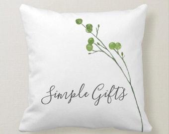 "Botanical White Throw Pillow ""Simple Gifts"""