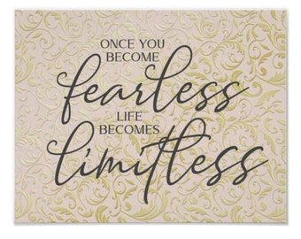 """Home Office Prints, Ready to Frame, Wall Decor """"Once You Become Fearless Life Becomes Limitless"""" Home Office Wall Art"""