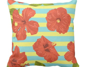 Decorative Throw Pillow Tropical Red Hibiscus with Yellow and Blue Stripes