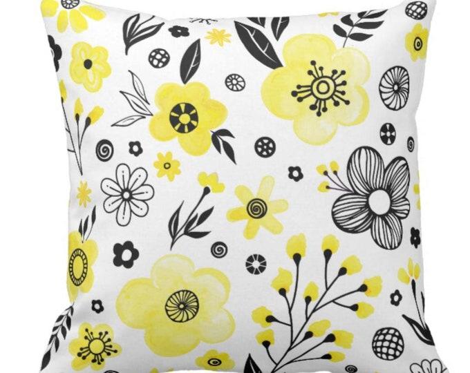 Sunny Yellow & Black Retro Floral Throw Pillow