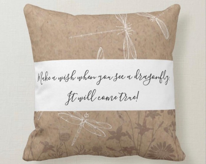 Pillow, Dragonfly Pattern, Tan & White, Wishes Come True, Square, Throw Pillow