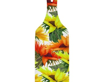 Sunflower Glass Cutting Board, Paddle, Yellow and Orange Sunflower Blooms