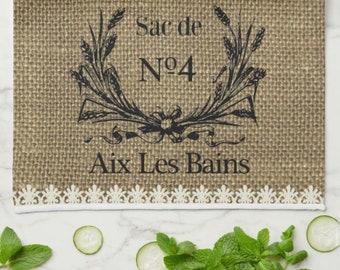 "Grain Sac Kitchen Towel ""Grains Sac de No4 Aix Les Bains""  Vintage Grain Sack Design, Grain Wreath,  Mother's Day Gift,  Gift For Her"