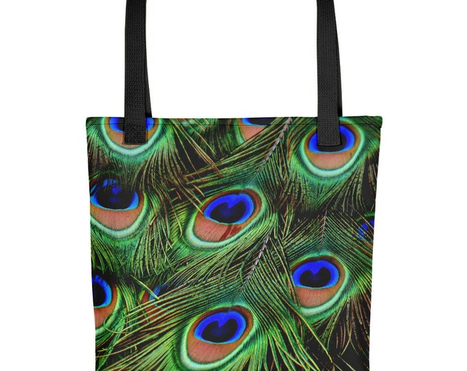 Tote Bag Jewel Peacock Feathers