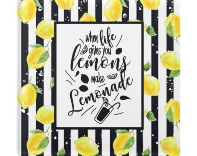 """Lemon Glass Coaster, Lemon and Stripe """"When Life Gives You Lemons Make Lemonade"""" Lemon Home Decor Coaster, Paperweight"""