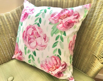 Watercolor, Vintage Design,  Pink Peonies, Cottage Throw Pillow, Floral Pillow, Pink, Green, White