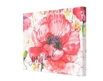 "Canvas Print, Red Poppy Garden ""Gypsy Soul"" Floral, Wildflower, Wall Art"