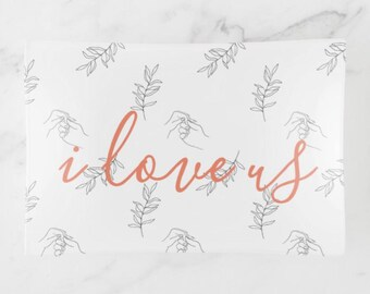 "Glass Tray, Trinket Dish ""i love us"" Peach and Black, Wedding Gift, Valentine's Day Gift,"