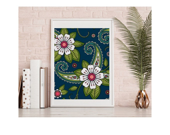 Wall Art Floral Pattern, Oriental Floral, Indian Floral, White Floral Design with Navy and Green, Floral Wall Decor, Poster
