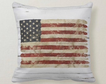 American Flag, Throw Pillow, Distressed Flag, Vintage Style Pillow, Americana Home Decor