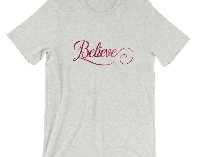 "Bella Canvas Unisex T-Shirt Christmas ""Believe"""