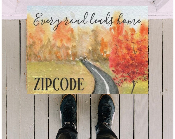 "Personalize Fall Doormat, Zip Code ""Every Road Leads Home"" Watercolor Landscape Road, Fall Outdoor Decor, Autumn Porch Decor, Front Door"