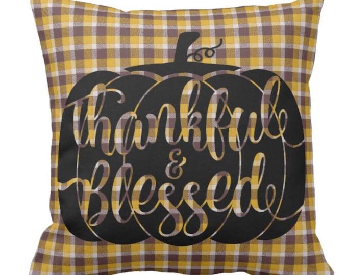 Throw Pillow Gold Plaid Pumpkin Thankful Blessed