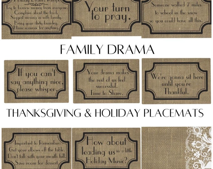 Funny Sayings, Thanksgiving Placemat Set, Family Drama, Fall Placemats,  Burlap and Lace, Cloth Placemats With Words, Sets, Fall Decor