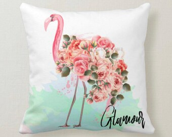 "Pink Flamingo Floral, Throw Pillow ""Glamour"" Hibiscus Blooms"