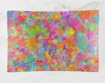 Decorative Glass Tray, Colorful, Summer Impressions, Abstract Watercolor, Trinket Tray