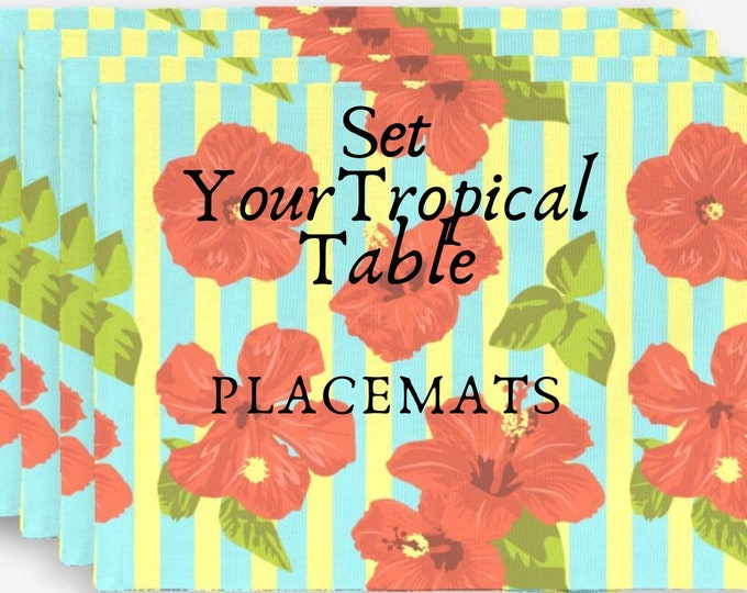 Red Hibiscus Stripe Placemats Home Decor Island Living Tropical Floral