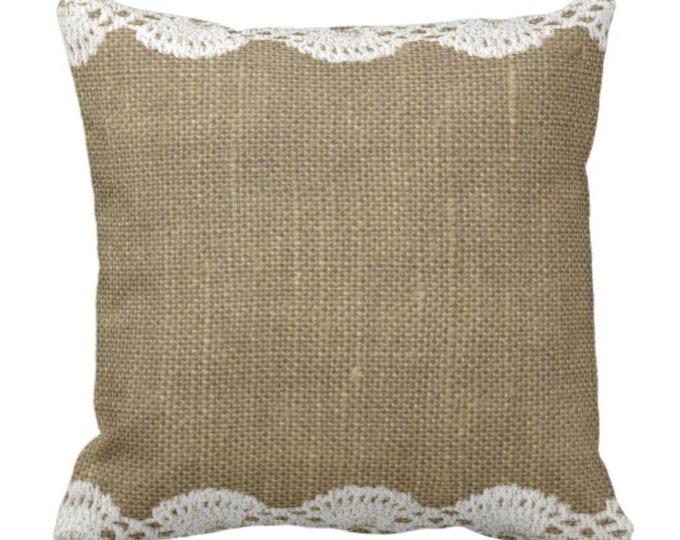 Throw Pillow Burlap and Lace Design