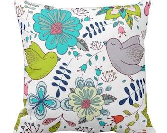 "Boho Pattern ""Birds and Flowers"" Throw Pillow Blue"