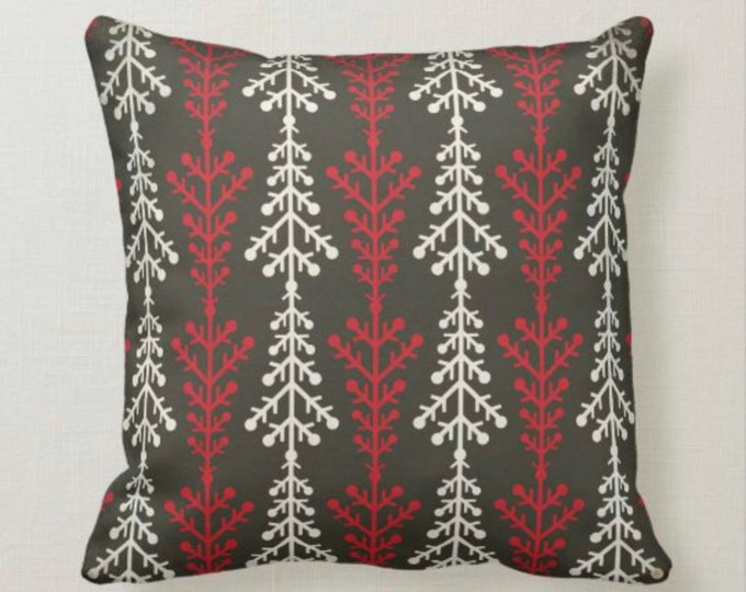 Retro Christmas Pillow, Snowflake Pattern, White, Red, Gray, MId-Century Christmas Decor, Cabin Style