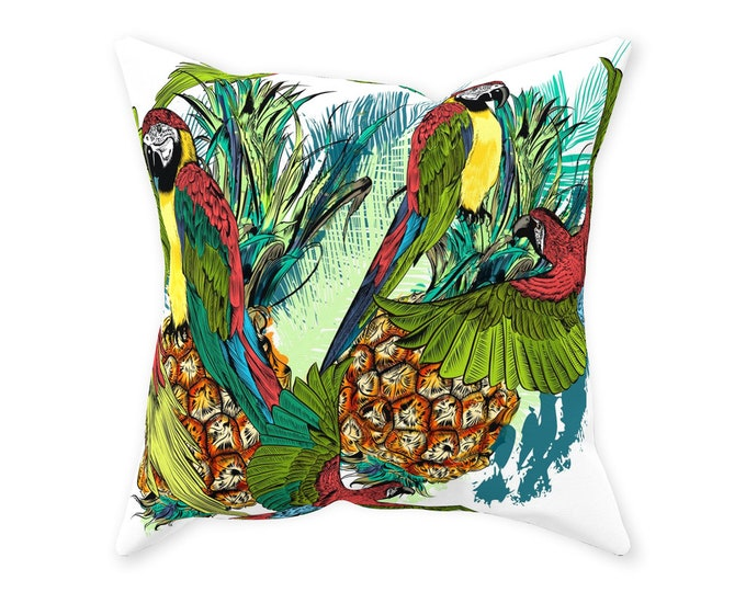 Throw Pillow, Tropical Pattern, Pineapples And Parrots