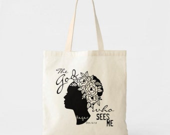 "Tote Bag ""The God Who Sees Me"" Bible Verse, Hagar, Religious Tote, Faith Tote"