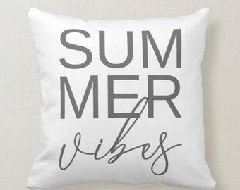 Throw Pillow, Summer Vibes, Gray Typography, Farmhouse, Beach, White Pillow
