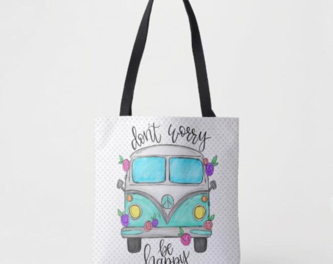"Boho Tote Bag, Hippie Van, ""Don't Worry Be Happy"" Polka-Dot Design"