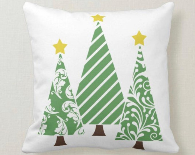 "Triangle Christmas Tree Pillow, Green and White, Two Pillows in One, Words ""O Tannenbaum"" Mint Pattern, German Christmas Song Pillow"