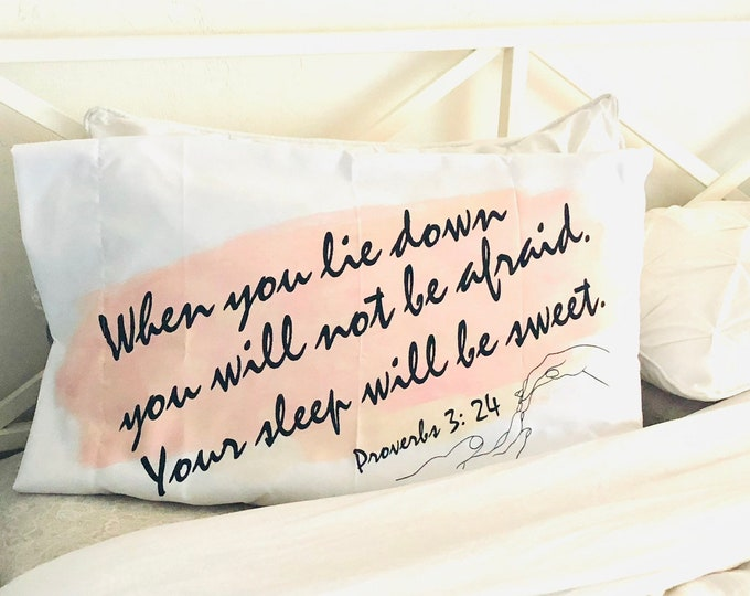 White Pillow Case, Blush, Watercolor Stroke, Bible Verse, Sleep Sweet, Proverbs, Typography
