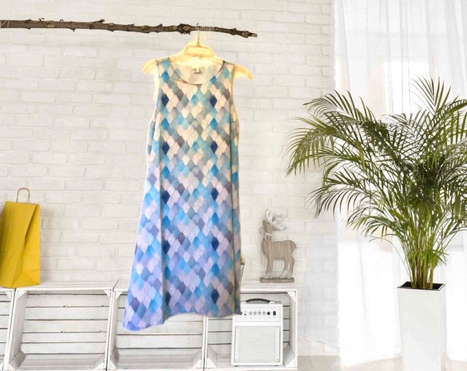A-Line Dress, Dragon Scale, Watercolor Pattern, Blue, Womens Dress, Flowy Style, Loose Fit, Flatters All Figures