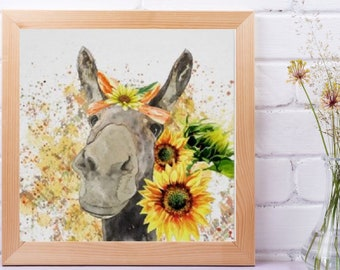 Sunflower Wall Art Decor, Poster, Watercolor Donkey with Sunflowers, Ready to Frame, Size 16 X 16, Farm Animal Art