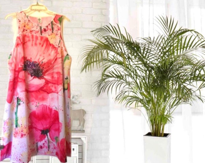 A-Line Dress, Red Poppy Watercolor, Women, Flatters All Figures, Loose Flowy Style, Floral Dress