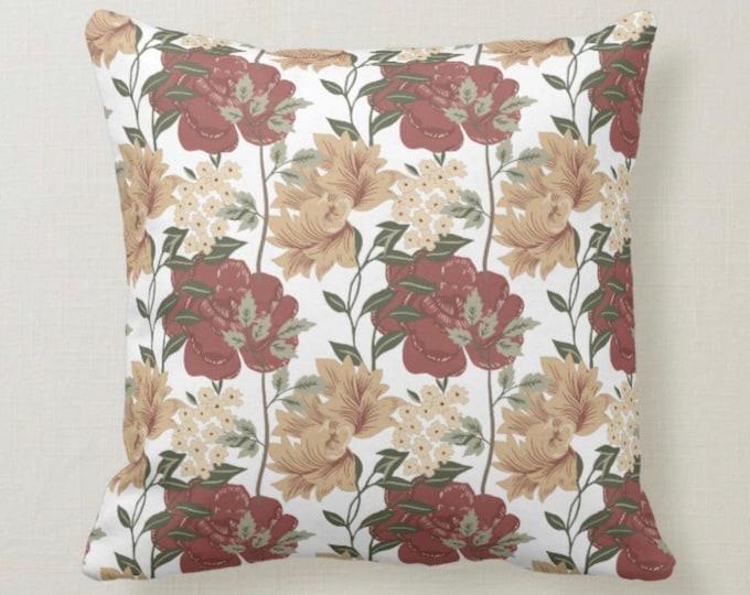 Burgundy & Tan Floral, Winter Garden, Watercolor, Throw Pillow